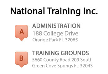 Addresses of National Training, Inc. locations