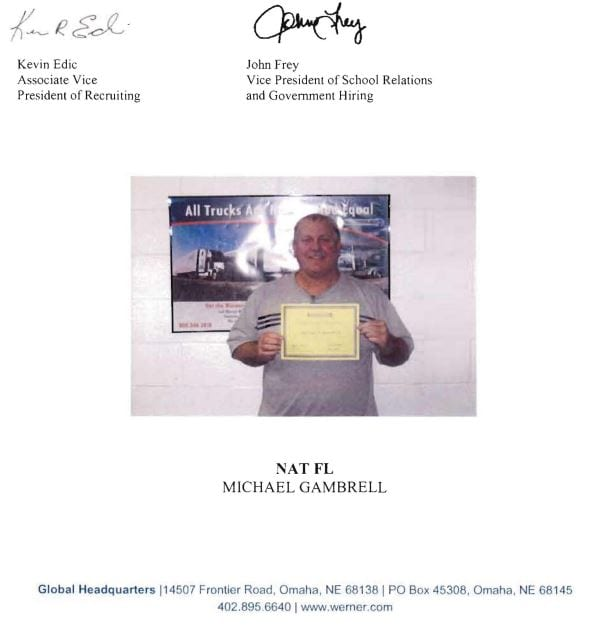 National Truck Driving School Michael Gambrell