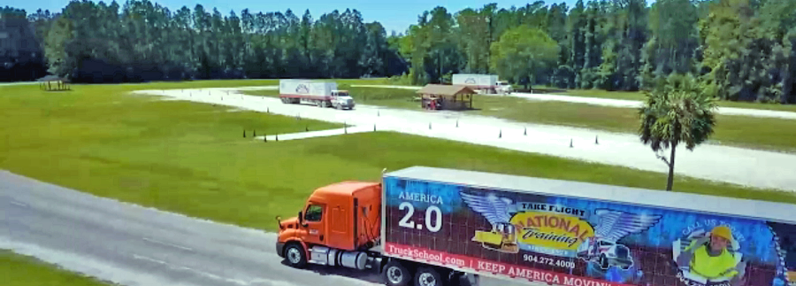 Trucks driven by students in the CDL Now Training Program at National Truck Driving School